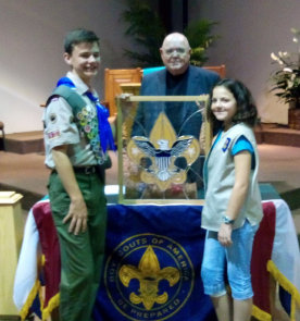 Todd, Robin & Bob showing off the Eagle Scout Window
