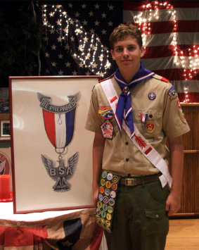 My son Chris, receiving his Eagle Scout Rank