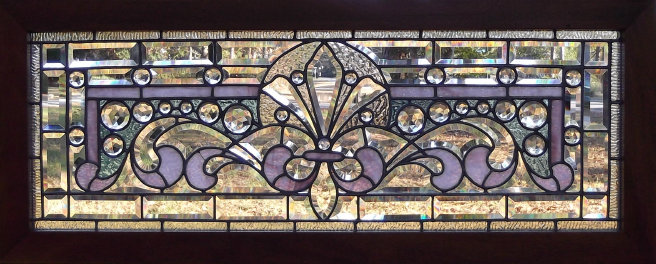 1890/'s Antique TRANSOM WINDOW Frame /& Glass VICTORIAN Style Fir ORIGINAL
