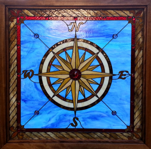 Dean S Compass Rose Stained Glass Transom Dean S