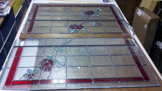Original stained glass window in pieces
