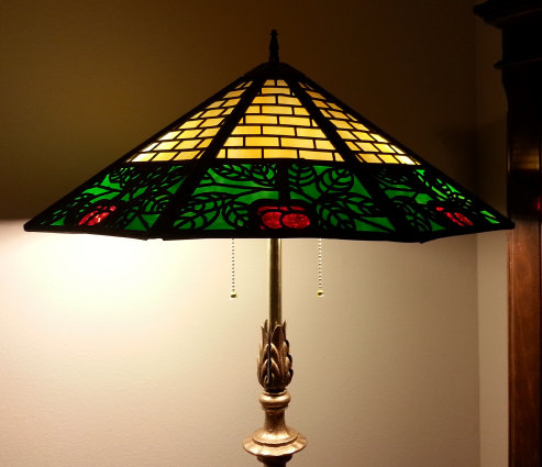 Bradley and Hubbard Stained Glass Cherry Floor Lamp