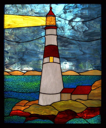 Lighthouse and sea stained glass design